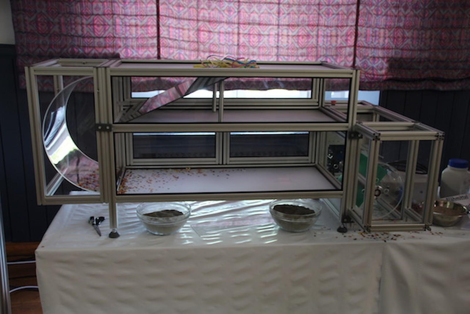 Die Demonstration des neuen Sichters erfolgte mit Konfetti – bald sollen diese Anlagen auch an Bandübergaben mit echter Gesteinskörnung zum Einsatz kommen.
